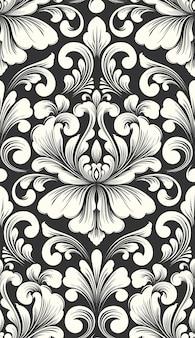 Вектор дамасской бесшовные модели. классический роскошный старинный дамасский орнамент, королевская викторианская бесшовная текстура для обоев, текстиля, оклейки. изысканный цветочный шаблон в стиле барокко.