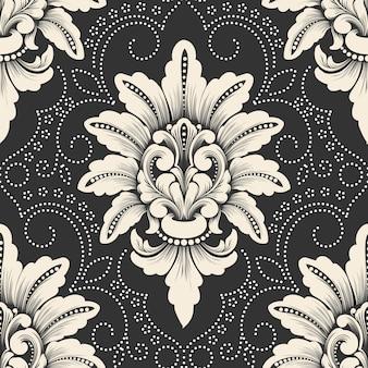 Elemento di modello senza cuciture damascato vettoriale. ornamento damascato vecchio stile classico di lusso, trama senza cuciture vittoriana reale per sfondi, tessuti, confezioni. modello barocco floreale squisito.
