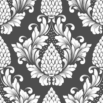 Вектор дамасской бесшовные модели. классический роскошный старинный дамасский орнамент, королевский викторианский стиль