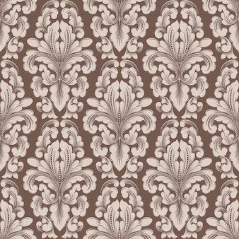 Vector damask seamless pattern element. classical luxury old fashioned damask ornament, royal victorian style