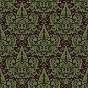 ベクトルダマスクシームレスパターン要素。古典的な豪華な昔ながらのダマスク織の飾り、ロイヤルビクトリア朝様式
