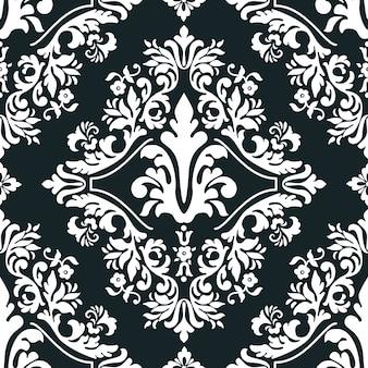 壁紙、テキスタイル、ラッピング用のベクトルダマスクシームレスパターン要素。