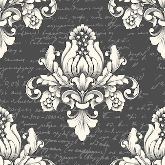 Vector damask seamless pattern element with ancient text