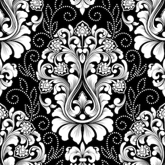 Vector damask seamless pattern. exquisite floral baroque wallpaper.