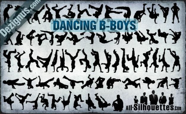 Vector dancing b-boys silhouettes