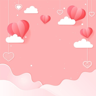 Vector dangling hearts cloud wave pink background