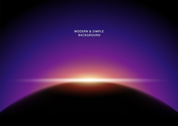 Вектор темный абстрактный фон, солнце светит из-за планеты