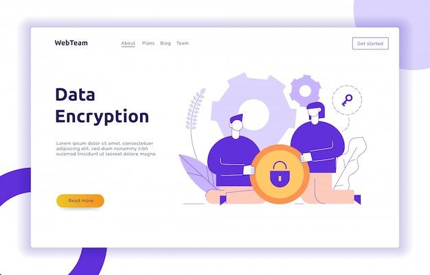 Vector data encryption web page online banner template