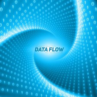 ベクトルデータフローの視覚化。トンネル内でねじれた2進数の文字列としてのビッグデータの青い流れ。情報コード表現。暗号化分析。