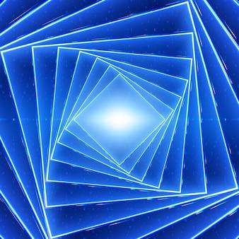 ベクトルデータフローの視覚化。バイナリ文字列としての青いビッグデータフローの正方形のねじれた光るトンネル。コードのサイバー世界。暗号化分析。ビットコインブロックチェーン転送。情報ストリーム