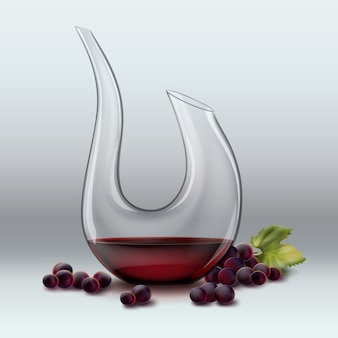 Vector decanter with wine ang red grape isolated on gradient gray background