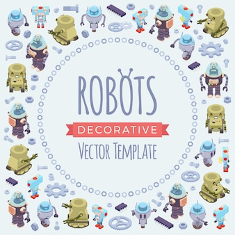 Vector decorating design made of isometric robots