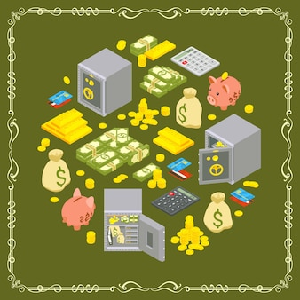 Vector decorating design made of objects related to finance
