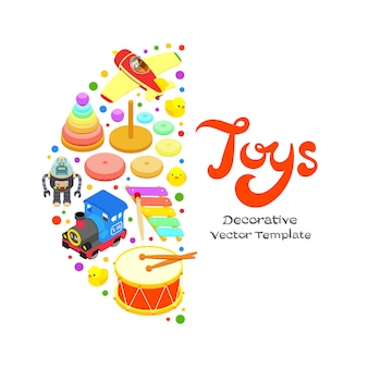 Vector decorating design made of toys