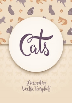 Vector decorating design with the cats