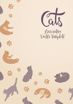 Векторный дизайн украшения с кошками