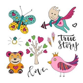 バレンタインのためのベクトル装飾は、日が大好きです。かわいい落書きデザイン要素のセット。キューピッド、鳥、蝶、木