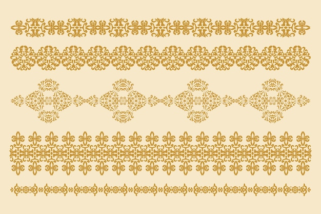 ベクトル装飾的な装飾品水平パターンのセットベクトルデザイン要素コンピューターグラフィックス