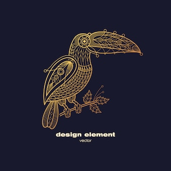 Вектор декоративный рисунок птица тукан.