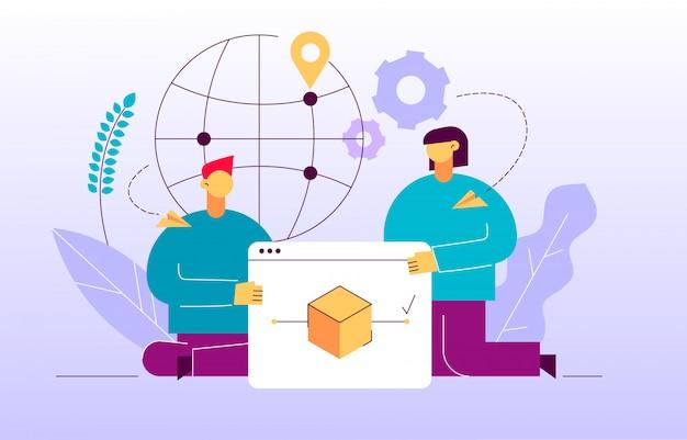 Vector delivery service design concept web banner
