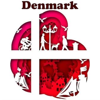 종이 아트 스타일의 벡터 덴마크입니다. 디지털 아트