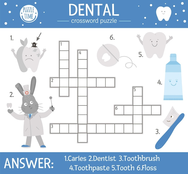 Vector dental care crossword puzzle. mouth hygiene quiz for children. educational medical activity with cute dentist, tooth, toothbrush, toothpaste, floss, apple