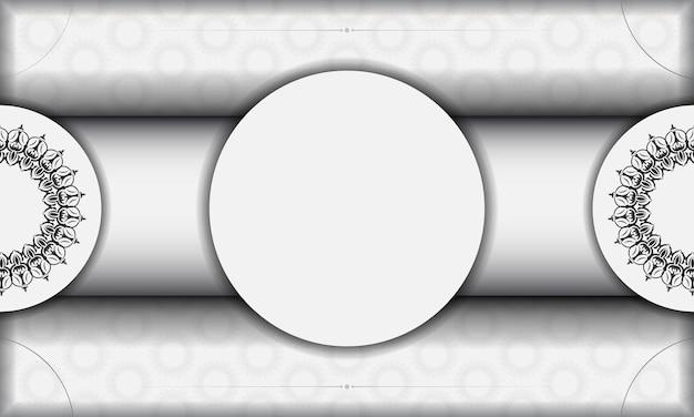 Векторный дизайн фона со старинным орнаментом. белый баннер с орнаментом мандалы для вашего логотипа.