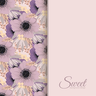 Vector design banner with pink and violet flowers