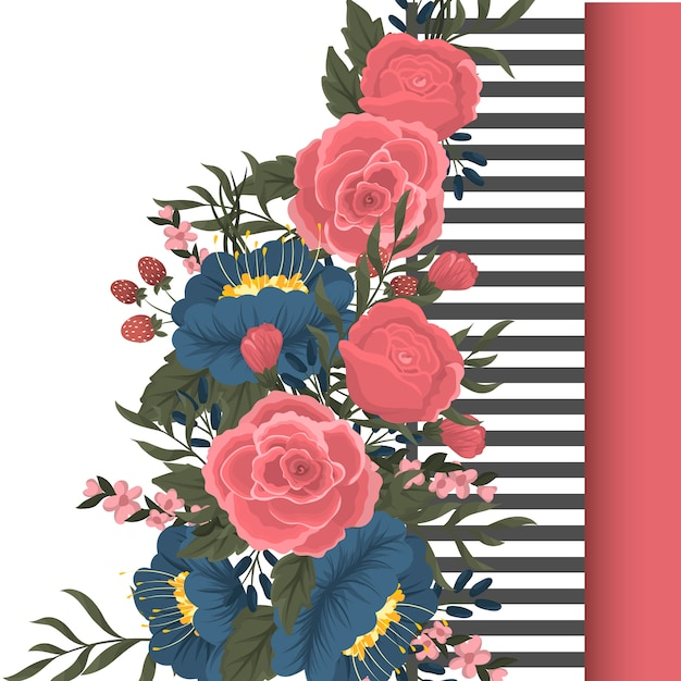 Vector design banner with red roses and blue flowers