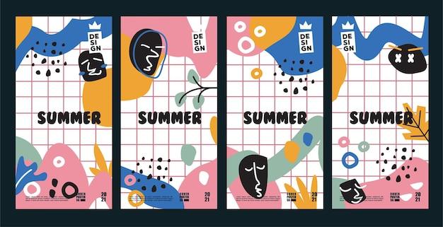 夏のポスターの背景とカバーのベクトルデザインコレクション