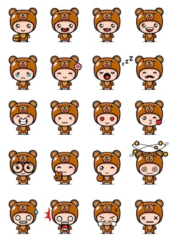 Vector design of cute bear mascot set