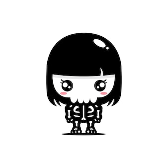Vector design of a cute female skull character