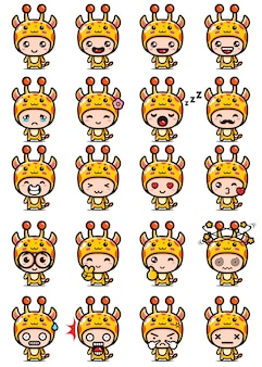 Vector design of cute giraffe mascot set