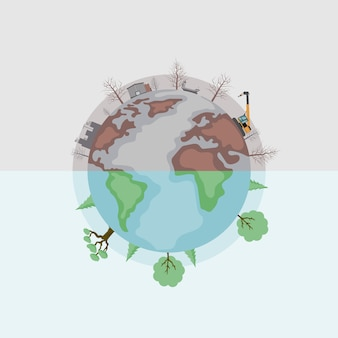 Vector design of earth divided into polluted and green