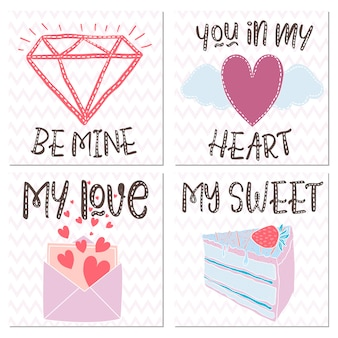 Vector design elements for a gift on valentine's day.