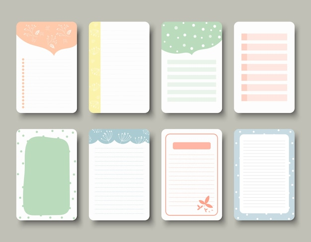 Vector design elements for notebook