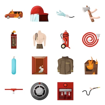 Vector design of firefighters and fire symbol. collection of firefighters and equipment set