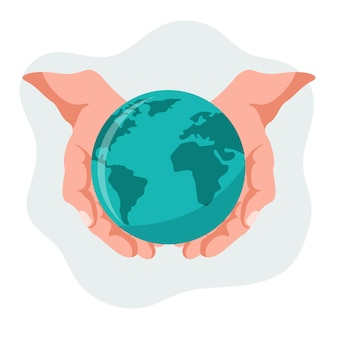 Vector design of hands holding our planet earth