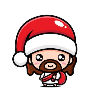 Vector design of jesus christ wearing a santa hat