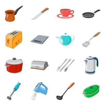 Vector design of kitchen and cook symbol. collection of kitchen and appliance stock symbol for web.