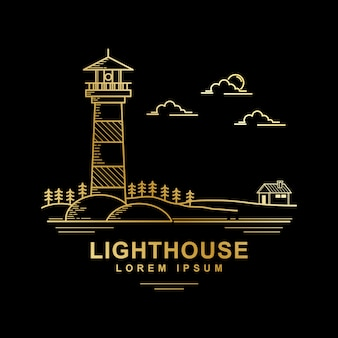 Vector design of lighthouse golden color