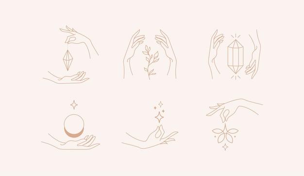 Vector design linear hands template logos