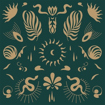 Vector design linear icons and emblems - mystery boho style. seamlee pattern.