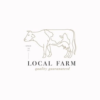 Vector design linear template logo or emblem - farm cow. abstract symbol for meat shop or butchery.