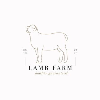 ベクターデザインの線形テンプレートのロゴまたはエンブレム-農場の子羊。肉屋や肉屋の抽象的なシンボル。