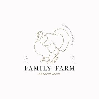 ベクターデザインの線形テンプレートのロゴまたはエンブレム-ファームターキー。肉屋や肉屋の抽象的なシンボル。