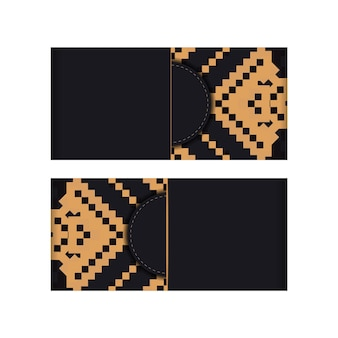 Векторный дизайн открытки черного цвета со славянским орнаментом. дизайн пригласительного билета с пространством для текста и старинных узоров.