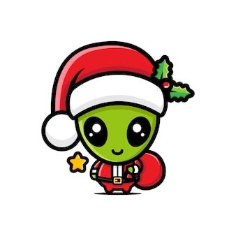 산타 클로스 의상을 입고 외계인의 벡터 디자인