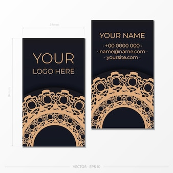 豪華な装飾品と黒の名刺のベクトルデザイン。ヴィンテージ柄のスタイリッシュな名刺。
