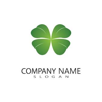 緑のクローバーの葉のロゴのベクトルデザイン、運アイコンフラットデザインイラスト-ベクトル